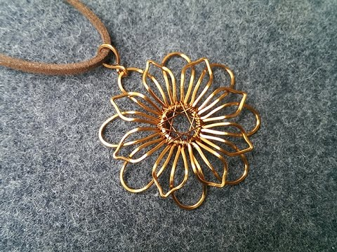 Mandala flower pendant - How to make wire jewelry 219