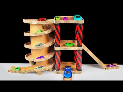 How to Make Cardboard Toy Car Garage Playset for Hot Wheels Cars