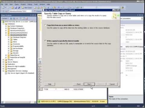 Using the SQL Server Import and Export Wizard to Export To Excel