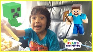 Surprise Toys Opening Challenge Minecraft Kid On the Airplane going home with Ryan