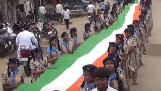 Patriotic Fervour Eve Rally By Students @ Nalgonda || 1500m National Flag || Bharat Today
