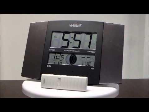 La Crosse WS-8117U-IT-AL LCD Atomic Digital Clock with Moon Phase and Indoor/Outdoor Temperature