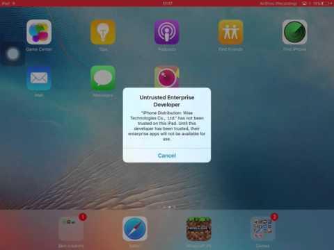 How to trust an app on iPad mini.