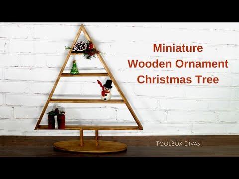 Miniature Wooden Ornament Christmas Tree