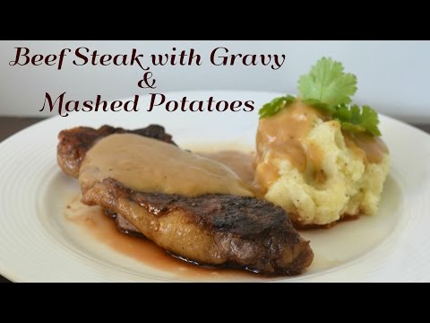 Beef Steak with Gravy and Mashed Potatoes