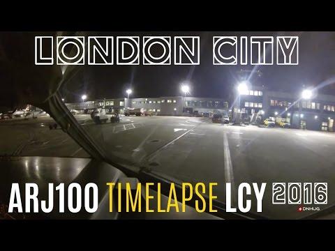 London City Night Cockpit Landing : Timelapse HD
