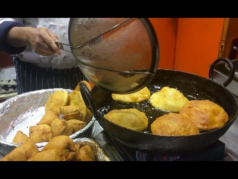 Puri (deep Indian fried bread) -  Street Food