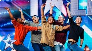 Golden buzzer act Boyband are back-flipping AMAZING! | Audition Week 2 | Britain