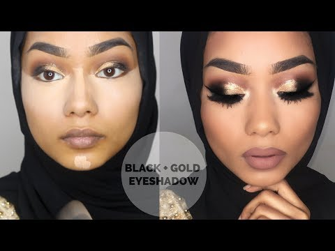 EID makeup tutorial | black and gold eyeshadow with a pop of navy | Sabina Hannan