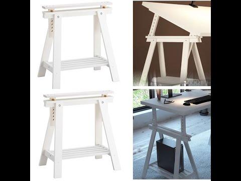 BHG White Trestle Leg With Shelf Assembly