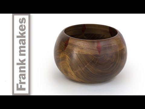 Wood Turned Walnut Bowl with Diamond Pattern