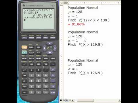 Using the TI-83 to find the area under the Normal Curve