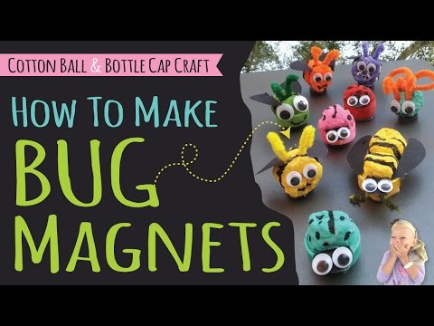 How to Make Bug Magnets for Kids | DIY Recycle Craft | Ladybug & Bee