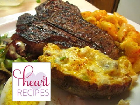 Dinner for two : T-bones Steaks, Loaded Twice Baked Potatoes, and Teriyaki Shrimp Salad.