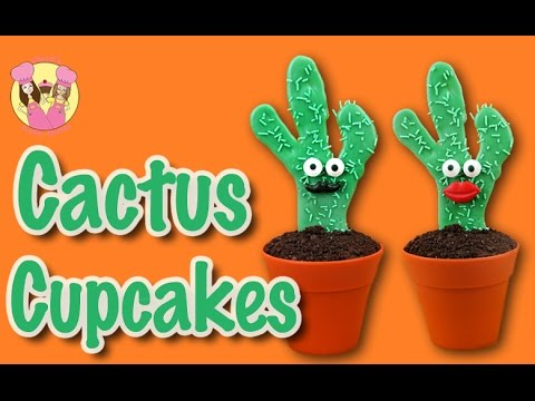 ❤️ HOW TO MAKE CACTUS CUPCAKES! Cute moustache patty cake by Charli's Crafty Kitchen