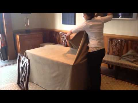 How to box a table cloth