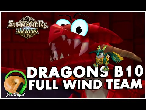 SUMMONERS WAR : Dragons B10 with a FULL WIND TEAM :D :D :D