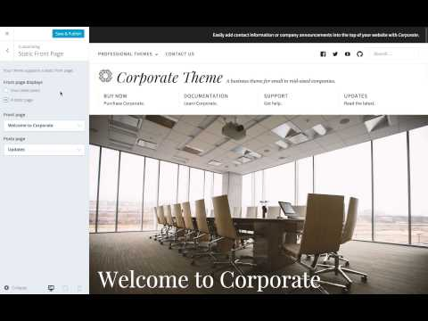 Corporate WordPress Theme: Setting a Static Front Page (Step 4)