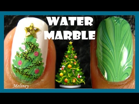 WATER MARBLE CHRISTMAS TREE NAIL ART DESIGN TUTORIAL | MELINEY HOW TO