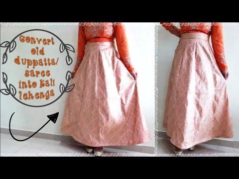 DIY: Convert Old Saree/Duppatta Into Designer Lehenga/Kali lehenga cutting & stitching(Hindi)