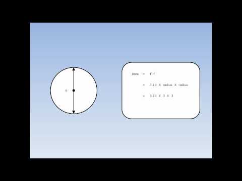 Area of a Circle 2 - Finding the Area using the Diameter