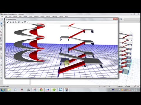 Spiral and Simple stairs in ETABS (lesson 9)