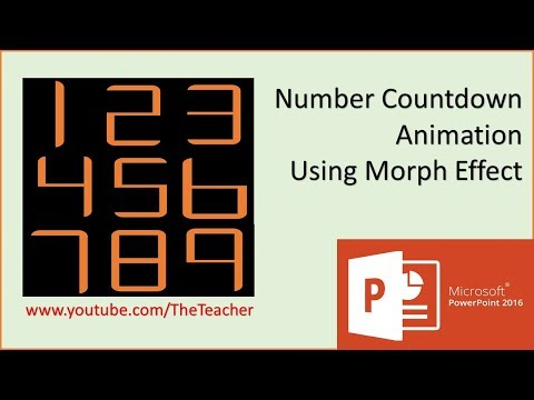 Number Countdown Animation Effect using Morph Transition in PowerPoint 2016 Tutorial