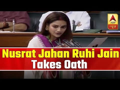 Xxx Mp4 Nusrat Jahan Ruhi Jain Takes Oath In Lok Sabha ABP News 3gp Sex