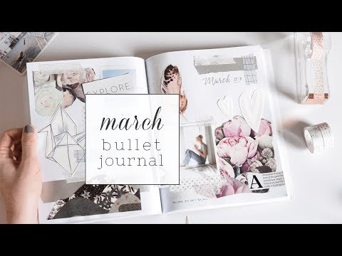 Bullet Journal Collage + Minimal March Layout