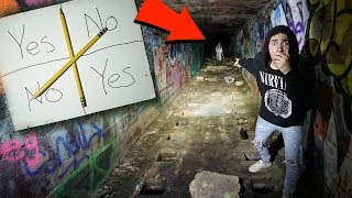 playing charlie charlie challenge at abandoned slaughter house in the woods...