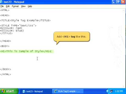 html style tags // style and div tags //color defined inside the div tag.