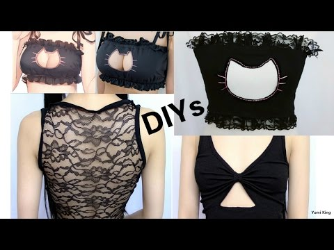 3 DIY Sew/No Sew Tops: DIY Cat keyhole Cut Out Top + DIY Lace Back Top + DIY  Front Bow Cut Out Top