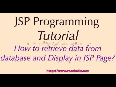 How to retrieve data from database and Display in JSP Page?