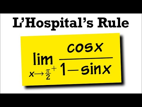 L'Hôpital's rule, limit as x goes to pi/2+, cos(x)/(1-sin(x))