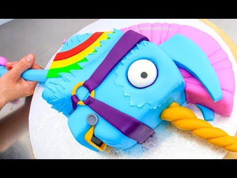 FORTNITE CAKE - Rainbow Llama Unicorn Smasher-How To by Cakes StepbyStep