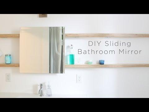 DIY Sliding Bathroom Mirror