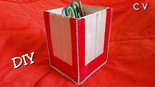 DIY / How to Make Desk Organizer / Popsicle sticks craft /  Ice Cream Sticks Craft Ideas / Tutorial