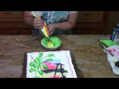 Hawaiian Cake with Plumeria- Cake Decorating- Buttercream