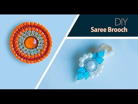 How to make saree pin at home | DIY brooch | saree brooch making | jewelry making | Beads art