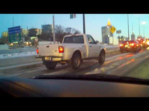 Ford Ranger 2wd failing to get traction on ice in Atlanta Georgia.