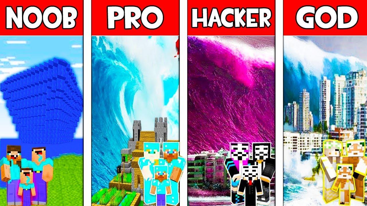 Minecraft NOOB vs PRO vs HACKER vs GOD: FAMILY TSUNAMI in Minecraft Animation