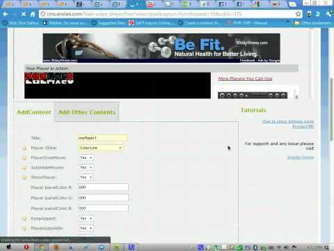 Add video to website using CMS Arsslan with Custom Flash video player