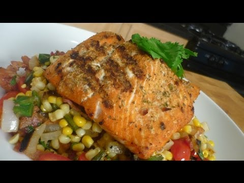 Latin Spiced Grilled Salmon with Fire Roasted Corn Succotash