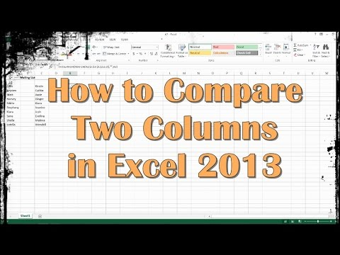 How to Compare Two Columns in Excel 2013