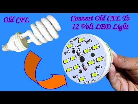 Convert Old Broken CFL To Super Bright 12 Volt LED Light || Homemade - DIY