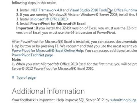 Installing PowerPivot for Excel 2010