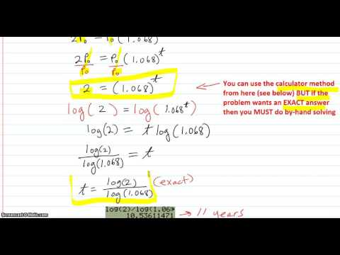 Applications with exponential equations solved using logs