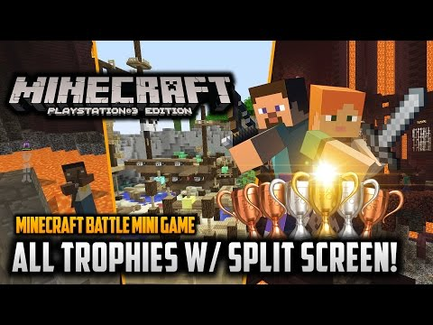 Minecraft PS3 Edition: All Battle Minigame Trophies! w/ Split Screen! (Trophy Guide)