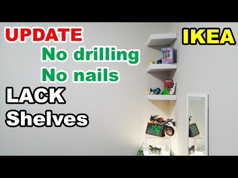 IKEA Lack shelf no drilling no nails on wall UPDATE