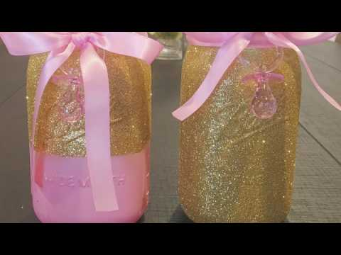PINK AND GOLD BABY SHOWER CENTERPIECES
